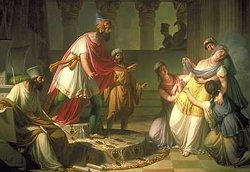 Esther comes before King Ahasuerus